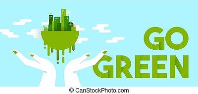 stad, ekologi, planet, grön, gårdsbruksenheten räcker