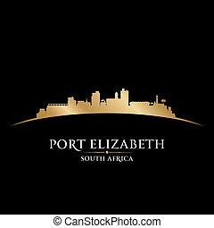 stad, elizabeth, afrika, illustration, silhouette., horisont...