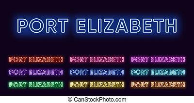 stad, elizabeth, glödande, sätta, afrika., city., neon, syd...
