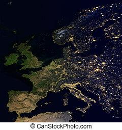 stad, europe., map., wereld, lichten