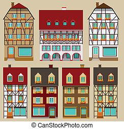 stad, europeaan, huisen