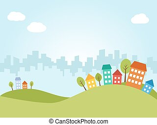 stad, färgad, hus