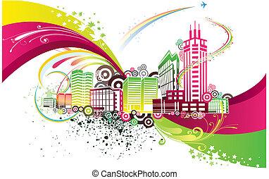 stad, färgrik, bakgrund