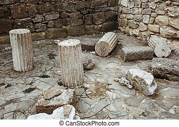 stad, fördärvar, forntida, gammal, nesebar, bulgarien