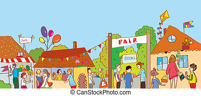 stad, fair, mensen, velen, illustratie, huisen, vakantie