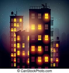 stad, flats, op de avond