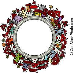stad, frame, ontwerp, jouw, schets