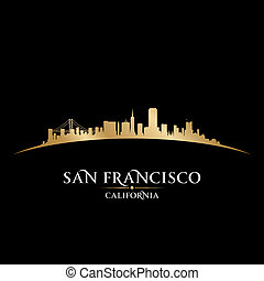 stad, francisco, san, illustration, silhouette., horisont, ...
