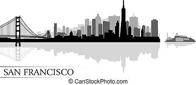 stad, francisco, silhuett, san, horisont, bakgrund