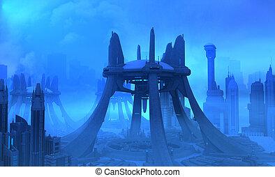 stad, futuristisch
