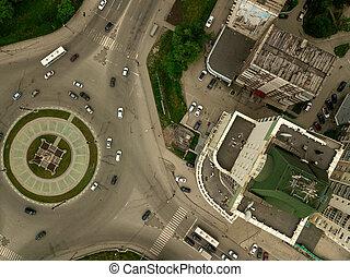 stad, fyrkant, antenn, rondell, synhåll