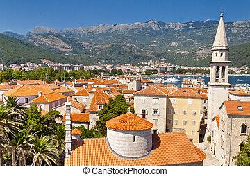 stad, gammal, budva, -, montenegro, synhåll