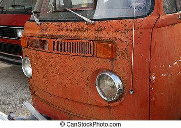 stad, gammal, dumpa, bussar, bil, rostning