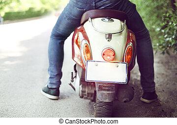 stad, gammal, sparkcykel, gata,  retro, ridande,  man