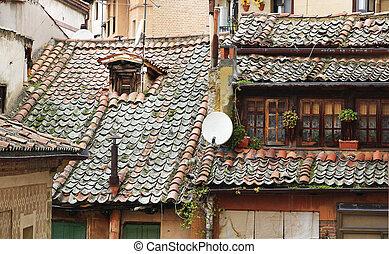 stad, gammal, tak, hus, spanien, segovia, typisk