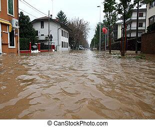 stad, gata, lera, översväm, översvämning, skräp, under