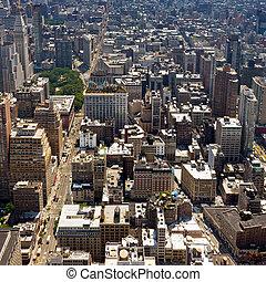 stad, gebouwen, -, downtown, york, nieuw, manhattan