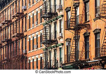 stad, gebouwen, flat, york, nieuw