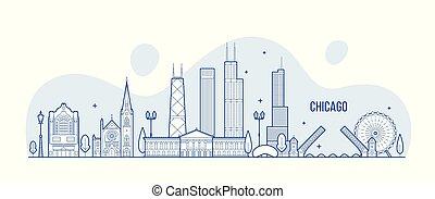 stad, gebouwen, lineair, usa, chicago, vector, skyline