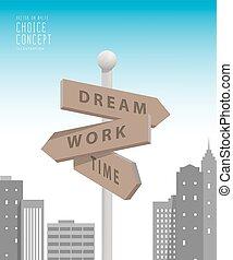 stad, gebouwen, metafoor, decision., groot, maken, werken, over, guidepost, iets, vector., droom