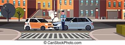 stad, gebouwen, ongeluk, politie, politieagent, auto, boete, wettelijk, uniform, gebotst, issuing, plat, officier, achtergrond, rapport, horizontaal, schrijvende , spandoek, document, straat