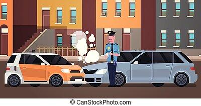stad, gebouwen, ongeluk, politie, politieagent, auto, wettelijk, uniform, gebotst, issuing, plat, officier, achtergrond, rapport, horizontaal, schrijvende , boete, document, straat