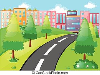 stad, gebouwen, scène, straat