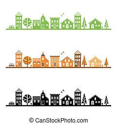 stad, gemiddeld, illustratie