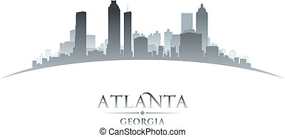 stad, georgië, silhouette, skyline, achtergrond, atlanta,...