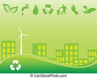stad, grön