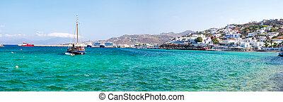 stad, griekse , kust, schepen, water, panoramisch, zwevend, aanzicht