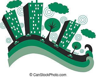 stad, groene