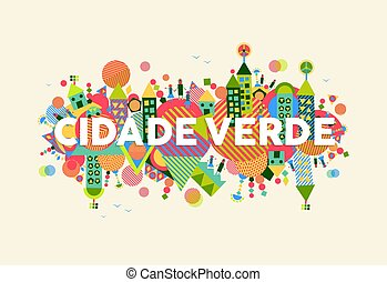 stad, groene, taal, illustratie, portugees