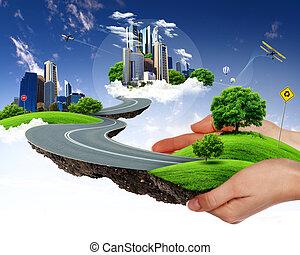 stad, groene, vasthouden, menselijke hand