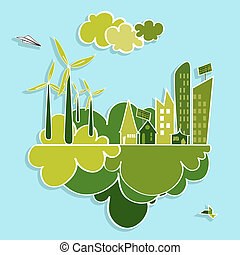 stad, groene, vernieuwbaar, resources.