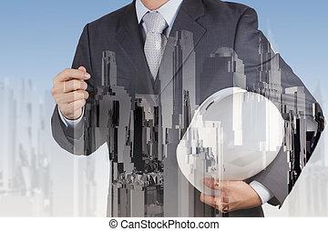 stad handel, dubbel, abstract, blootstelling, ingenieur