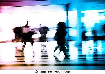 stad handel, mensen, abstract, achtergrond