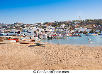 stad, haven, bootjes, visserij, mykonos