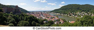 stad, heidelberg, panorama