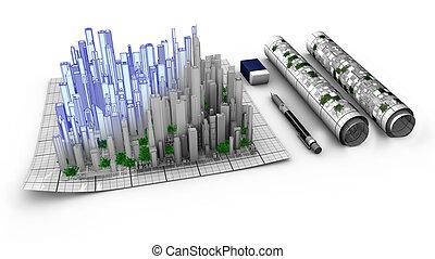 stad, het bovenkomen, concept, kaart, ontwerp,...
