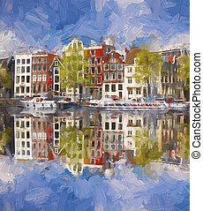 stad, holland, stil, konstverk, amsterdam, målning