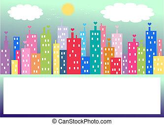 stad horisont, färgglatt