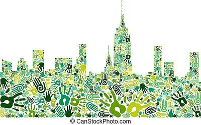 stad horisont, grön fond, räcker, gå