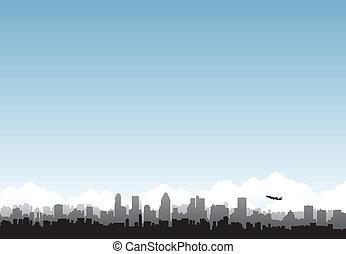 stad, horisont