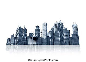 stad horisont, vit, isolerat