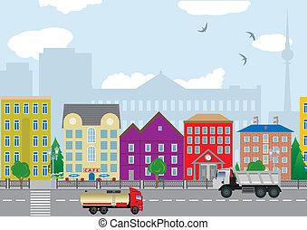 stad, huisen