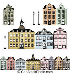 stad, huisen, vector, oud, illustratie
