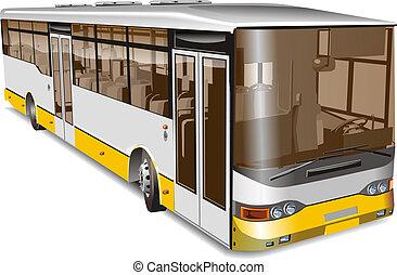stad, illustratie, bus