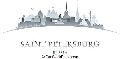 stad, illustratie, silhouette., skyline, vector, petersburg,...