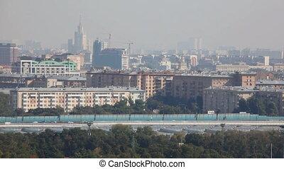 stad, in, een, smog